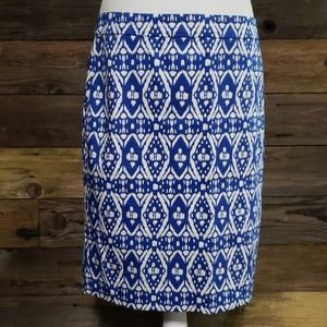 J. Crew The Pencil Skirt in Sateen Ikat Print
